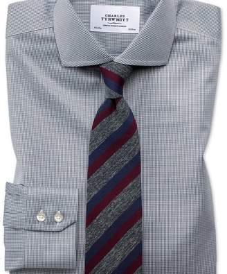 Charles Tyrwhitt Slim fit cutaway non-iron puppytooth dark grey shirt