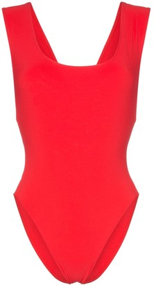 Araks red Jireh scoop neck cutout swimsuit