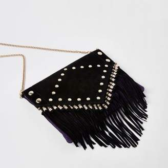 River Island Black leather stud and tassel clutch bag