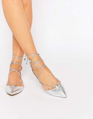 Carvela Loop Silver Leather Tie Up Flat Shoes