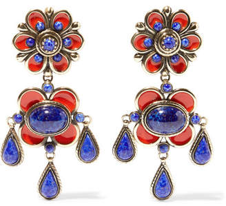Etro - Enameled Gold-tone Earrings - Red $420 thestylecure.com