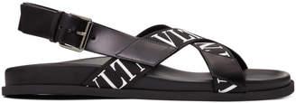 Valentino Black Garavani Strap Logo Sandals