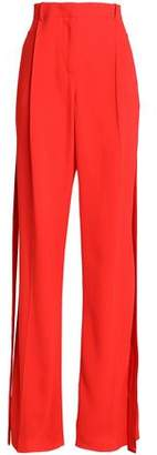 Givenchy Silk Satin-Trimmed Crepe Wide-Leg Pants