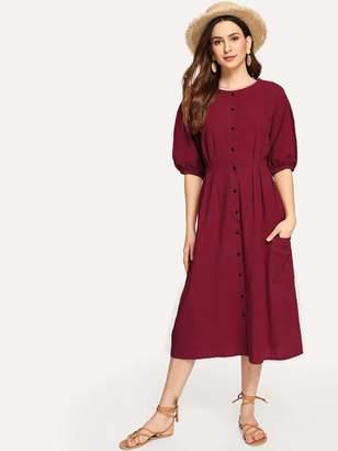 Shein Button Through Patch Pocket Midi Dress