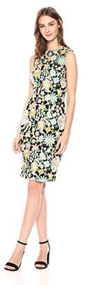 Carmen Marc Valvo Women's Multi Colored Floral Embroidered Sheath