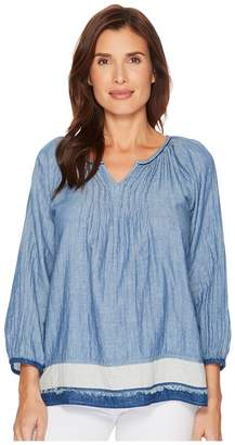 Dylan by True Grit Luxe Denim Double Cloth Pintuck Blouse with Border and Fringe Women's Blouse