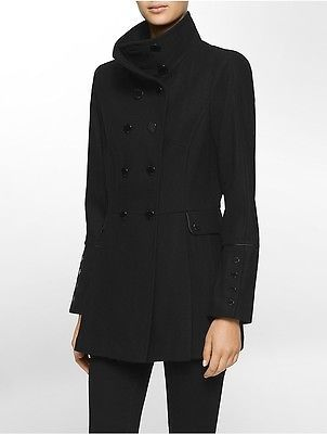 Calvin KleinCalvin Klein Womens Double Breasted Military Coat Jacket