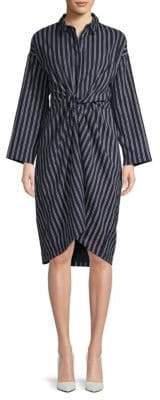 Moon River Striped Twist-Front Cotton Knee-Length Dress