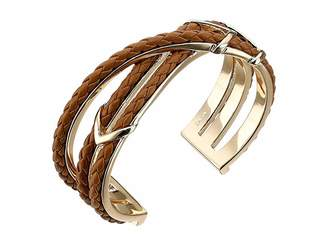 Cole Haan Chevron Metal Leather Braided Cuff Bracelet
