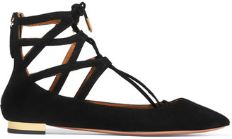 Aquazzura - Belgravia Suede Point-toe Flats - Black $695 thestylecure.com
