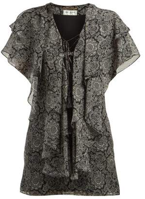 Saint Laurent Paisley Print Ruffled Silk Georgette Mini Dress - Womens - Black White