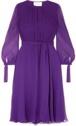 ARoss Girl x Soler - Amanda Belted Silk-georgette Midi Dress - Purple