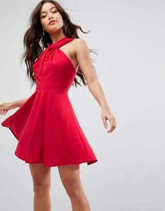 Asos Design Crepe Twist Neck Mini Skater Dress