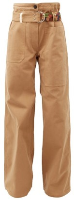 BEIGE La Fetiche - David Wide Leg Cotton Twill Trousers - Womens