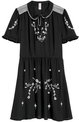 H&M Cotton Dress with Embroidery - Black