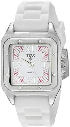 Trax Women's TR5132-PW Posh Square Rubber Pink and Dial Watch