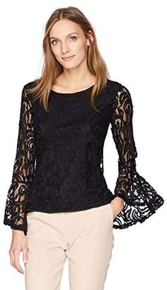 Adrianna Papell Women's Lace Top Dramatic Bell Sleeve