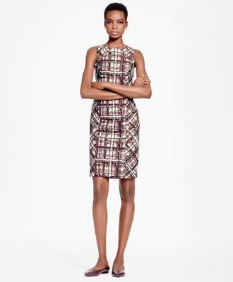 Brooks Brothers Petite Plaid Jacquard Cotton Sheath Dress