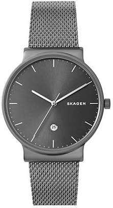 Skagen Mens Three-Hand Ancher Titanium and Steel-Mesh Watch