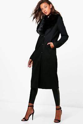 Damen Tall Jess Mantel in Wolloptik mit Kunstfellbesatz in Kamelfarben