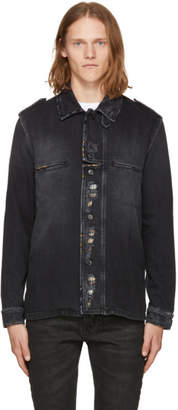 Saint Laurent Black Distressed Denim Shirt Jacket