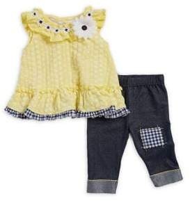 Little Lass Baby Girl's Two-Piece Daisy Top and Capri Set