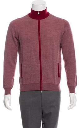 Isaia Extra Fine Merino Wool Zip Front Cardigan
