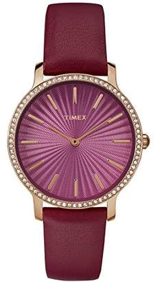 Timex Women's TW2R51100 Metropolitan Starlight 34mm Leather Strap Watch