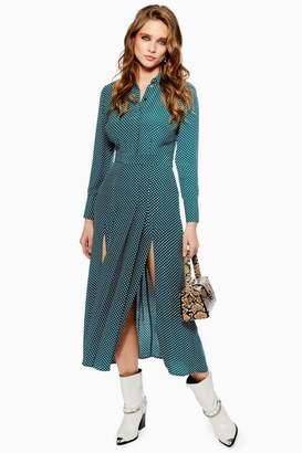 Topshop Womens Petite Spot Pleat Shirt Dress