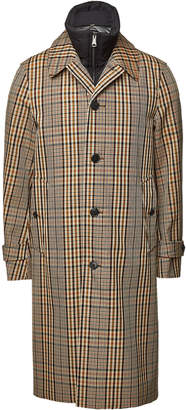 Checked Cotton Coat with Down Vest