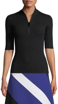 Michael Kors Mock-Neck Zip-Front Elbow-Sleeve Ribbed Merino Pullover
