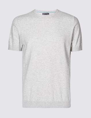 Marks and Spencer Cotton Rich Short Sleeve Knitted Top