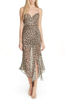 Nicholas Leopard Print Silk Midi Dress