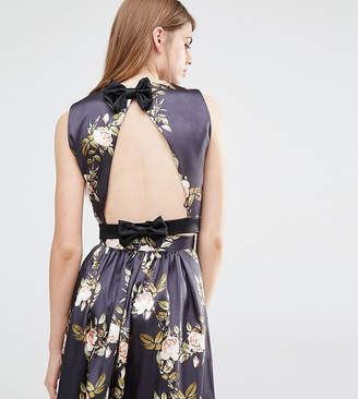 True Violet Open Back Top With Bow