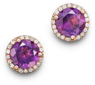 Bloomingdale's Amethyst and Diamond Halo Stud Earrings in 14K Rose Gold - 100% Exclusive