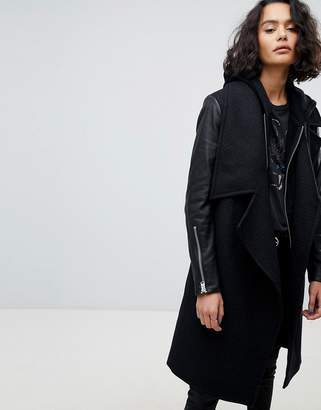 AllSaints Waterfall Coat with Leather Sleeves