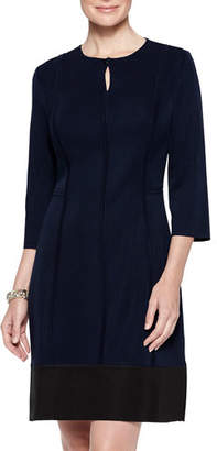 Misook Banded Hem 3/4-Sleeve Sheath Dress