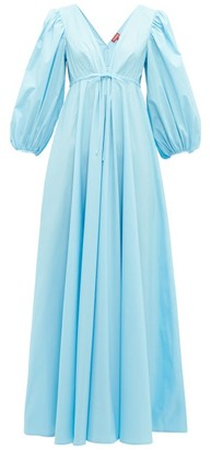 STAUD Amaretti Cotton Poplin Maxi Dress - Womens - Blue