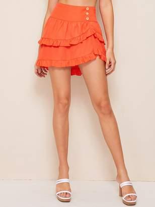 decd5da1f65f Shein Neon Orange Wide Waistband Asymmetrical Skirt