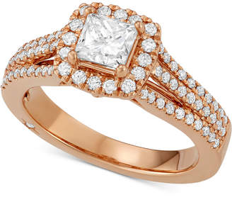 Marchesa Celeste Halo by Princess Cut Diamond Engagement Ring (1-1/5 ct. t.w.) in 18k White, Yellow or Rose Gold