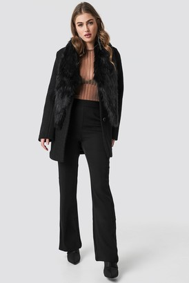 434aa35e014 Hannalicious X Na Kd Faux Fur Collar Coat Black
