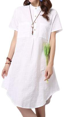 Buckdirect Worldwide Ltd. Vintage Button Women Solid Color High Low Linen Shirt Dress