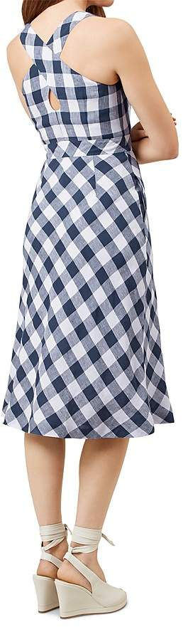 HOBBS LONDON Myra Gingham-Print Linen Dress 3
