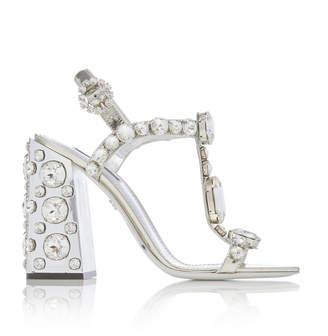 Dolce & Gabbana Crystal-Embellished Metallic Sandals