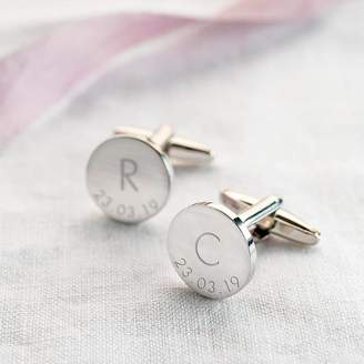 Atticus Initial And Date Personalised Cufflinks