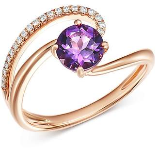 Bloomingdale's Amethyst & Diamond Cocktail Ring in 14K Rose Gold - 100% Exclusive