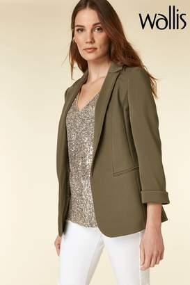Wallis Womens Khaki Ribbed Jacket - Green