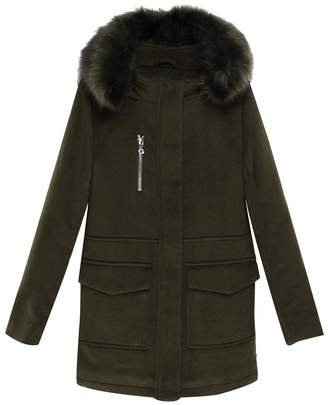 Le Temps Des Cerises Mid-Length Wool Blend Hooded Coat