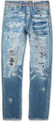 KAPITAL Slim-Fit Distressed Denim Jeans