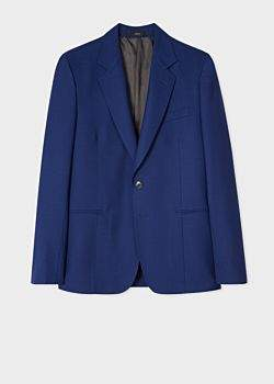 Paul Smith Men's Tailored-Fit Blue Wool Blazer